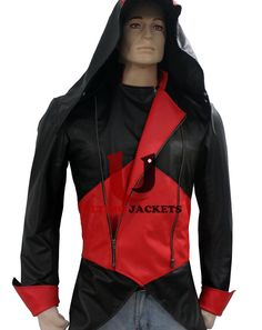 Assassins Creed 3 Game (Connor Kenway) Jacket  Jacket Features:   Outfit type: Denim Gender: Male Color: Black-Red Front: Front Zip Closure Collar: Hooded Collar Lining: Viscose Lining