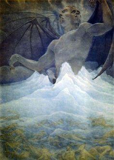 Amos Nattini Сатана в центре замерзшего озера. Песнь XXXIV, Божественная комедия Данте 1923