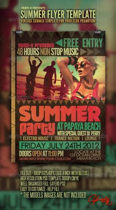 Buy Vintage Summer Flyer Template by yaniv-k on GraphicRiver. Vintage Summer Flyer Template This vintage style template designed to promote any summer events FEATURS: The PSD file. Templates Printable Free, Print Templates, Flyer Template, Trance Nation, Presentation Design Template, Summer Events, Party Flyer, Graphic Design Inspiration, Best Part Of Me
