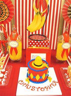 curious george monkey red yellow birthday party dessert table banana backkdrop over the cake with yellow hat Curious George Cakes, Curious George Party, Curious George Birthday, Monkey Birthday Parties, Elmo Party, Birthday Party Themes, Birthday Ideas, Third Birthday, Boy Birthday