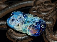 blue focalbead with silver mesh, dichroic and handmade murrini, handmade glass bead SRA, OOAK by Cornelia Lentze