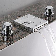 Waterfall+Bathroom+Sink+Faucet+(Widespread)+-+Chrome+Finish+–+USD+$+95.99 Bathroom Sink Taps, Bathroom Fixtures, Sinks, Bathtub Faucets, Concrete Bathroom, Bathroom Chrome, Faucet Kitchen, Bronze Bathroom, Lavatory Faucet