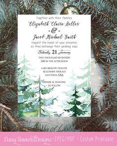 Custom Printable Rustic Watercolor Pines Wedding Invitation, Winter Wedding, Engagement, Bridal Shower, Winter Wedding Invitation, Conifer