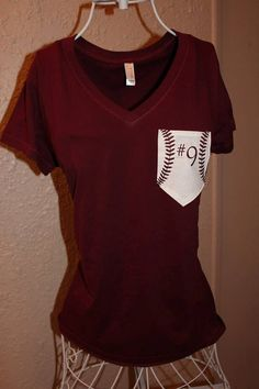 Custom Baseball Mom Pocket Shirt by SewSnazzybyBrook on Etsy