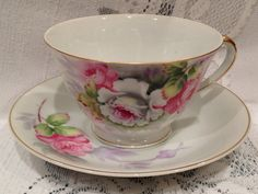 Hand Painted Bone China Tea Cup & Saucer  Gold by CupsAndRoses