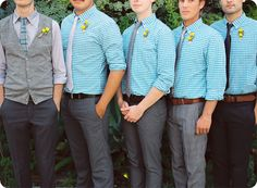 groom in vest, groomsmen in ties matching vest, all same color shirt