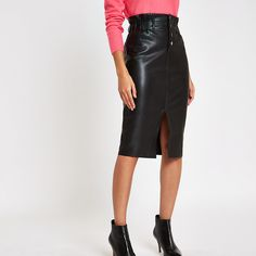281ad1edcb Black button front high waist pencil skirt High Waisted Pencil Skirt, Black  Button, Leather