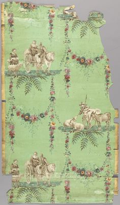 French wallpaper, 1780. These garlands look quite elaborate but they might be do-able. The flurry of subtle leaves leaves add a lot to composition.