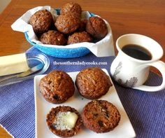 These Morning Glory Muffins in the morning with coffee will make for a glorious treat to start the day. They keep well in the refrigerator. You can freeze them and reheat in the oven or microwave a… Donut Muffins, Mini Muffins, Breakfast Muffins, Breakfast Recipes, Breakfast Ideas, Raisin Muffins, Bran Muffins, Breakfast Cake, Brunch Recipes