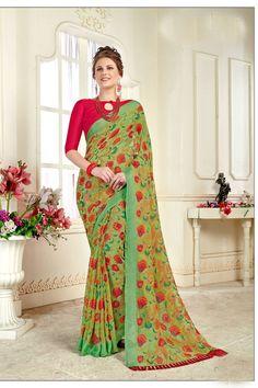 48bdbd4fb9 Light Green Brasso Georgette Saree With Blouse #brassosaree #indiansaree # saree #designersaree #