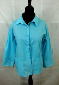 Women's Blouse Shirt Size 16 Long Sleeves Light Blue Chocolate Pockets #Unbranded #Blouse #Casual