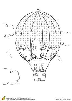 Image d'une montgolfière parapluie à colorier.