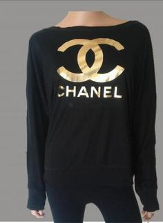 bella long sleeve sweater with Chanel logo,  Top, chanel logo  bella flowy  women  ladies, Casual