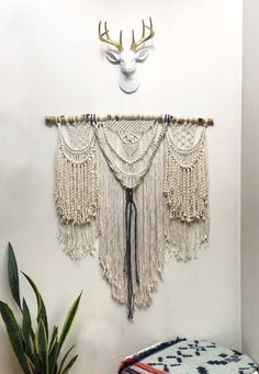 Beautiful, intricate, highly detailed large macrame wall hanging mounted on sealed white birch branch. This macrame piece is made up of multiple