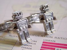 Robot Cufflinks Silver Men's Accessories & Gifts Geekery Retro Vintage Style Steampunk Cuff Links Or