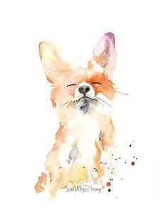 Proud Fox Watercolor Fine Art Print modern wild animal art