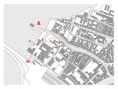 Plan of Le Corbusier's Venice Hospital (outlined in red) showing how it is raised above the site, like a tapestry or piece of city