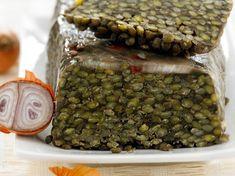 Terrine de lentilles Beans, Healthy Recipes, Healthy Food, Vegetables, Ethnic Recipes, Marmite, Chorizo, Rose, Onion