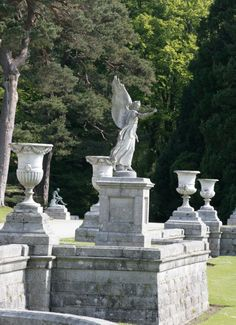 Statuary in Powerscourt Gardens. The Viscounts of Powerscourt truly enjoyed travelling throughout Europe, selecting original pieces of work and commissioning replicas to bring an international flavour to the gardens. Enjoy exciting sculptures of Gods and Mythical Creatures as well as exquisite water features on your visit to Powerscourt. www.powerscourt.ie