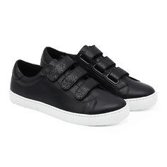 separation shoes 67d02 6e70d Basket à scratch femme en cuir noir. Fabriquée au Portugal dans l atelier à