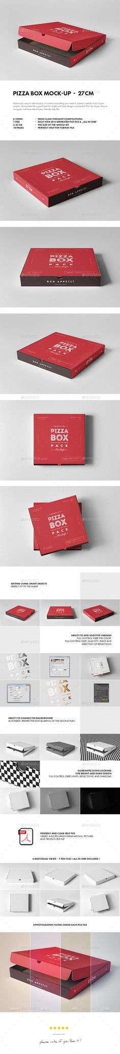 27 Pizza Box Mock-up by yogurt86 27 PIZZA BOX MOCK-UP Advanced, easy to edit mockup. It contains everything you need to create a realistic look of your project. G