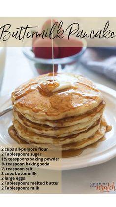 Pancake Recipe Taste, Pancake Healthy, Eating Healthy, Homemade Buttermilk Pancakes, Yummy Treats, Yummy Food, Pancakes And Waffles, German Pancakes, Belgian Waffles