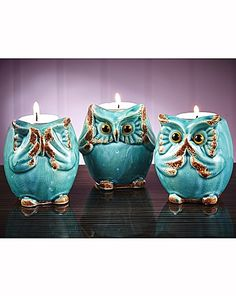 "Owl Tea Light Holders - They're also doing the whole ""See no evil, Hear no evil, Speak no evil"" thing :)"
