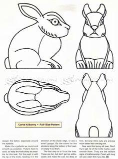 # 1392 Bunny Carving - Řezbářství Patterns - Wood Carving