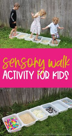 Sensory walk for kids. 5 senses activities - sense of touch activity. 5 Senses Activities, Sensory Activities, Craft Activities For Kids, Infant Activities, Learning Activities, Kids Learning, Kids Crafts, Outdoor Learning, Outdoor Play