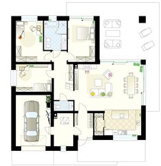 Projekt domu Antares 2T 121,76 m² - Domowe Klimaty House With Porch, My House, Bungalow House Plans, Dream House Exterior, Facade House, House Layouts, Pergola, New Homes, Floor Plans