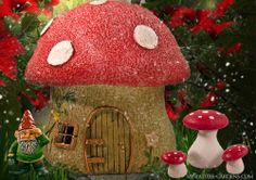 Garden Fairy Mushroom House | ... above features Mushroom Fairy House, Otto Gnome , Mini Mushroom Table