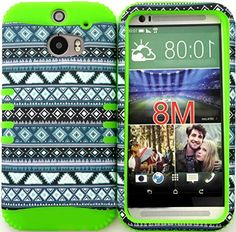 """myLife 2 Layered Protection Hybrid Case for All-New HTC One M8 Android Smartphone - AKA, 2nd Gen HTC One {Green, Blue, and White """"Aztec Tribal Geometric Pattern"""" Three Piece SECURE-Fit Rubberized Gel} myLife Brand Products http://www.amazon.com/dp/B00VGS3AW0/ref=cm_sw_r_pi_dp_w-bmvb0EZJS52"""