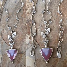 Inca Agate and Fine Silver Necklace. Handmade Jewelry for