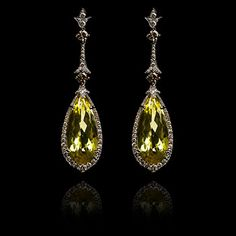 Annoushka Lemon Citrine Earrings b y annoushka. 40.32ct of unusual, vivid Lemon Quartz are set within a fram of 18ct White Gold, pave set with 2.54ct Diamonds.
