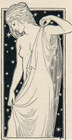 soyouthinkyoucansee:    The Night - Drawing by Fidus aka Hugo Höppener  ( library -uni von Heidelberg)    could be the star in the tarot deck