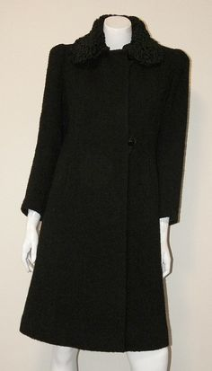 40s Vintage Fitted Wool Coat Persian Lamb by mystiquevintage, $65.00