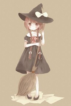 Anime girl, , brown hair, , braids, , halloween, , little witch, , kawaii