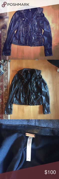 Free People leather jacket size 6 Detachable hood. Favorite jacket ever. Got too small. Perfect condition. Free People Jackets & Coats Utility Jackets
