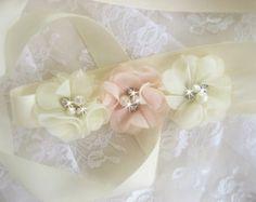 Wedding Sash Blush Sash Chiffon Blossoms Blush by nanarosedesigns