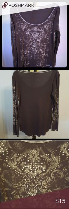 Maurice's Embellished Long Sleeve Embellished Maurice's long sleeve shirt!  Medium grey, size XL. Excellent condition Maurices Tops Tees - Long Sleeve