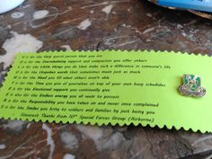 Volunteer Gift - unit pin on cardstock with volunteer anagram poem. Great for volunteers who come from outside the unit, a nice keepsake