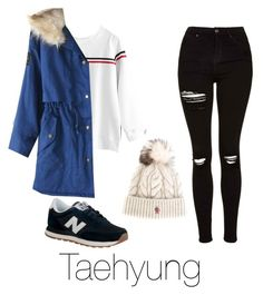 """""""Cold day with Taehyung"""" by infires-jhope ❤ liked on Polyvore featuring Topshop, New Balance and Moncler Grenoble"""