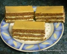 Rumos-vaníliás szelet **Katt a képre, ha érdekel a receptje is** Hungarian Cake, Hungarian Recipes, My Recipes, Dessert Recipes, Cake Bars, Tiramisu, Ham, Fondant, Food And Drink