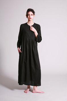 Black Linen Dress Maxi Pleated Dress Loose Fit Black