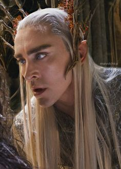 New still of Lee as Thranduil, behind the scenes