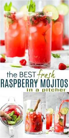 The BEST Fresh Raspberry Mojito Recipe - made with agave, fresh lime, mint and raspberries. These mojitos are my summer go-to and can easily be made into a mocktail! Minty refreshing mojitos with a touch of fresh raspberry make the perfect party cocktail. #cocktails #cocktailrecipe #mojitos #summerrecipes #july4th