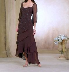 Sexy Chiffon Chocolate Brown Evening Dress, Mother of Bride Dress, Robe Mere de Mariee, Hi Low Evening Dress- Size 6 (US)