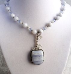 Blue Lace Agate is the stone of peace and is gentle and calming. Brings balance and emotional stability. Moonstone is associated with the Moon and is a wonderfully helpful stone for women. It is said to be stone of intuition and insight. Moonstone can help us to connect to all the different cycles we experience in life. Many people find moonstone to be very soothing and use it to help relieve stress. Many women like Moonstone for its ability to balance hormonal and menstrual cycles.
