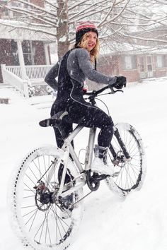 Cycling in the snow. Mountain bike