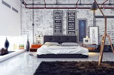 love the white brick. I would like this in a studio apartment